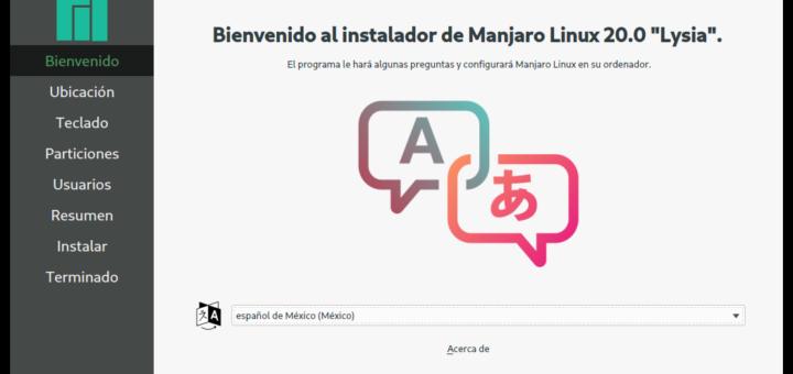 Bienvenida al programa de instalación de Manjaro