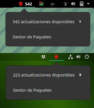 Indicadores de GNOME de actualizaciones
